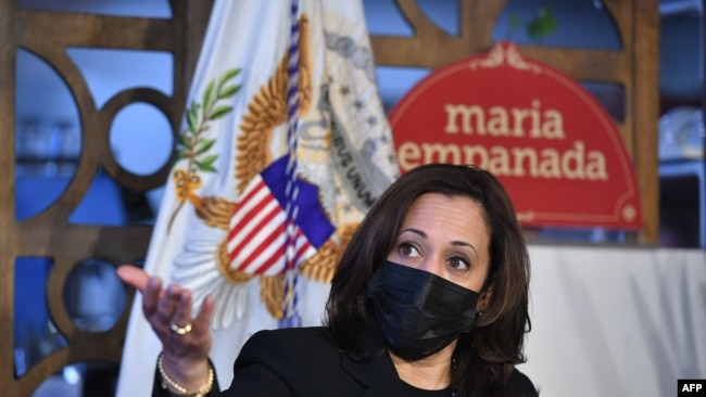 Vice President Kamala Harris takes part in a small business listening session at Maria Empanada in Denver, Colorado on March 16, 2021.