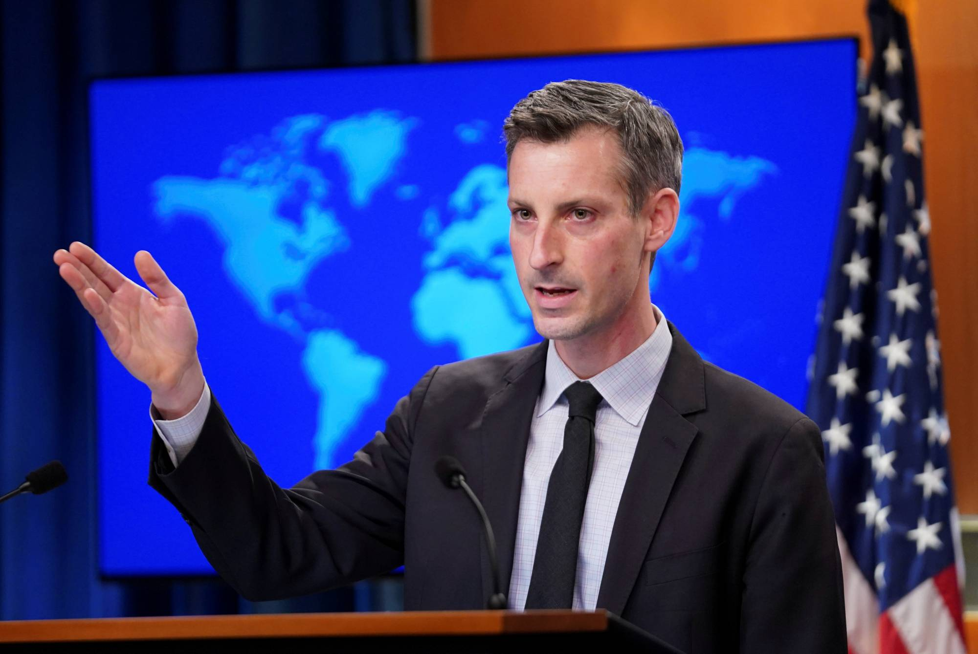 FILE PHOTO: U.S. State Department Spokesman Ned Price speaks to reporters during a news briefing at the State Department in Washington, U.S., February 17, 2021. REUTERS/Kevin Lamarque/Pool/File Photo