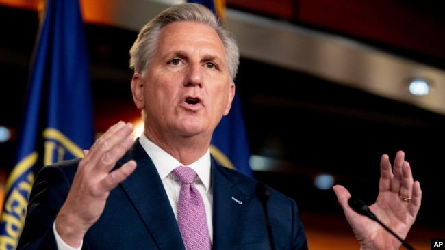FILE - House Minority Leader Kevin McCarthy of Calif., speaks during his weekly press briefing on Capitol Hill in Washington.