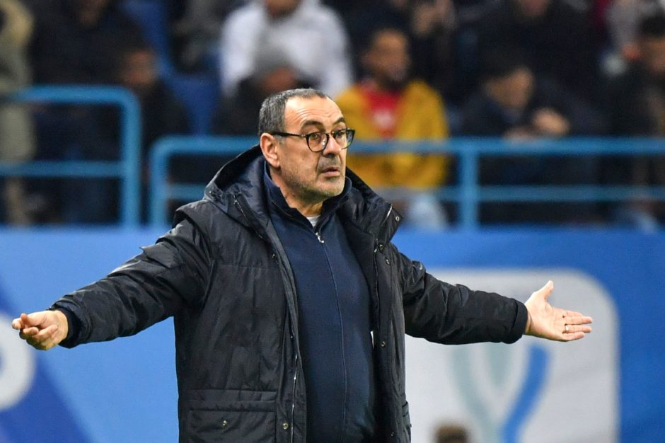 Juventus' Italian coach Maurizio Sarri reacts during the Supercoppa Italiana final football match between Juventus and Lazio at the King Saud University Stadium in the Saudi capital Riyadh on December 22, 2019. (Photo by GIUSEPPE CACACE / AFP) (Photo by GIUSEPPE CACACE/AFP via Getty Images)